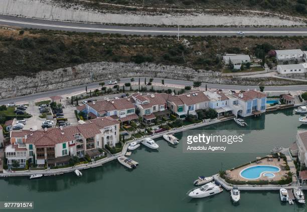 An aerial view of Alacati neighborhood is seen in Cesme district of Izmir province, located at Aegean region of Turkey on June 17, 2018.