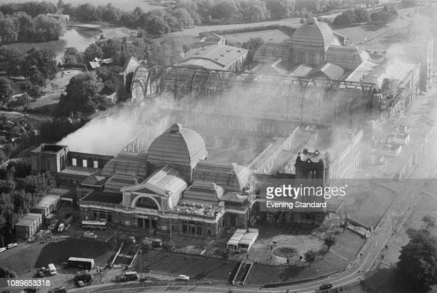An aerial view of Alexandra Palace on the day following a fire London UK 11th July 1980