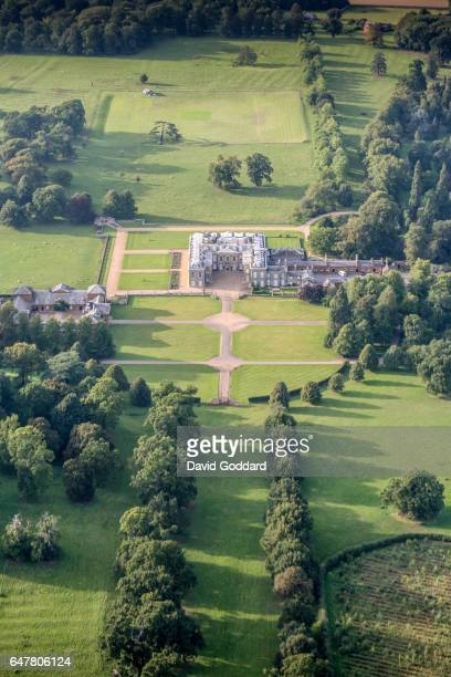 An aerial view of Althorp House, Home of the aristocratic Spencer family on September 9, 2006. The location of the buriel site of Diana, Princess of...