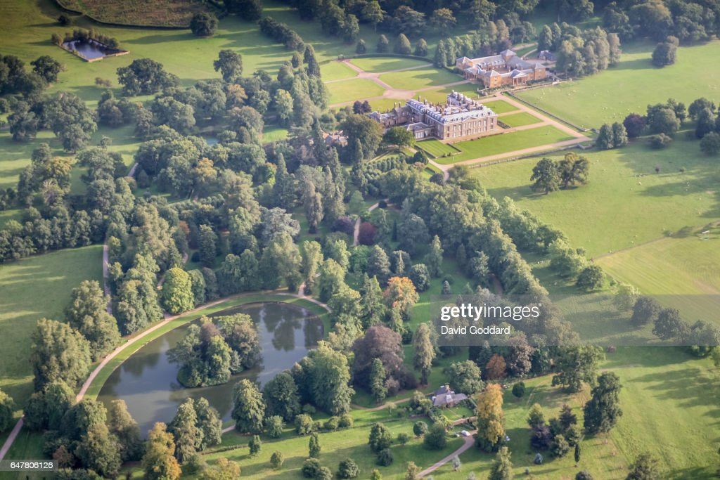 ENGLAND. NORTHAMPTONSHIRE. An aerial view of Althorp House, Home of the aristocratic Spencer family on September 9, 2006. The island in the Round Oval lake is the buriel site of Diana, Princess of Wales.