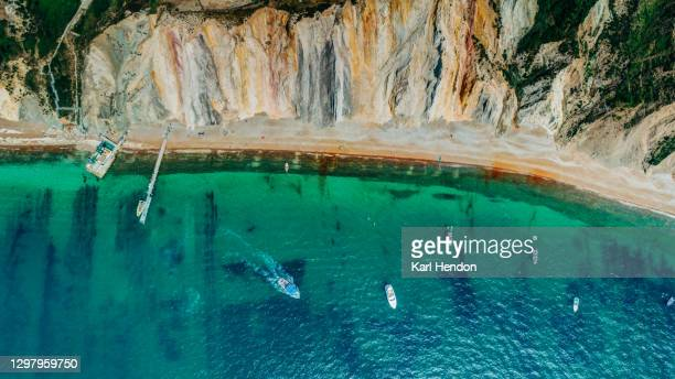 an aerial view of alum bay on the isle of wight, uk - stock photo - landscape scenery stock pictures, royalty-free photos & images