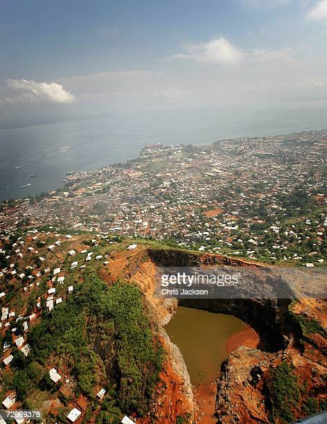 An aerial view of an abandoned mine just outside Freetown on November 28 2006 in Freetown Sierra Leone Sierra Leone was ravaged by a decade long...