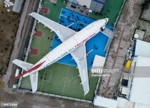 An aerial view of an AirbusA310 plane which is turned into a class in the garden of a private school in Izmir Turkey on November 30 2018 Airplane was...
