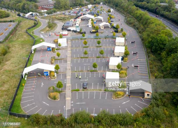 An aerial view of an almost empty Covid 19 test center on September 16,2020 in Guildford, England.