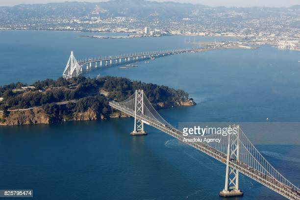 An aerial view of an artificial island Treasure Island in San Francisco CA United States on August 03 2017