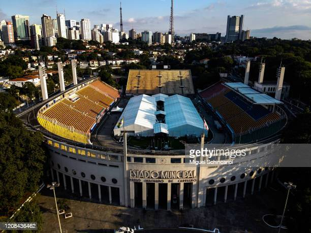 An aerial view of an emergency makeshift field hospital at Pacaembu Stadium for coronavirus patients with a capacity of 200 beds on March 27, 2020 in...