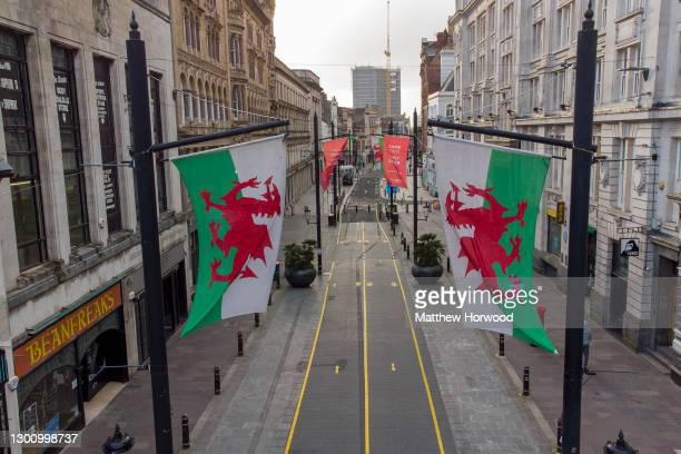 An aerial view of an empty High Street on the day of the Wales Six Nations game against Ireland on February 7, 2021 in Cardiff, Wales. Wales went...