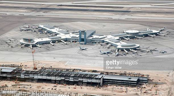 An aerial view of an existing terminal and one under construction at McCarran International Airport June 12 2009 in Las Vegas Nevada