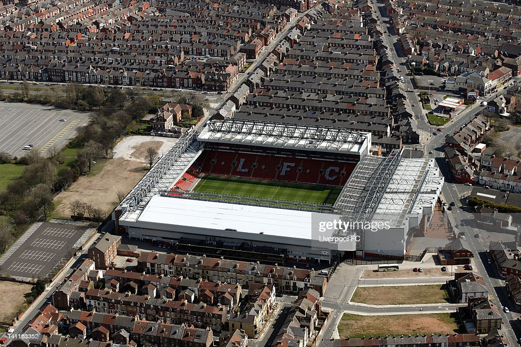 An aerial view of Anfield Stadium, on April 17, 2008 in Liverpool, England.