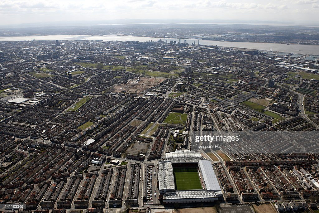 An aerial view of Anfield Stadium with the city centre and the River Mersey in the distance, on April 17, 2008 in Liverpool, England.