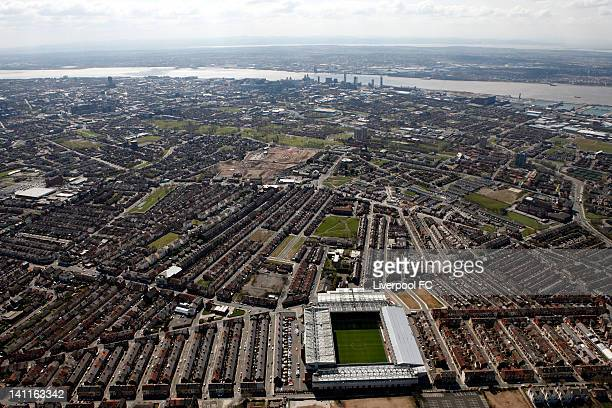 An aerial view of Anfield Stadium with the city centre and the River Mersey in the distance on April 17 2008 in Liverpool England