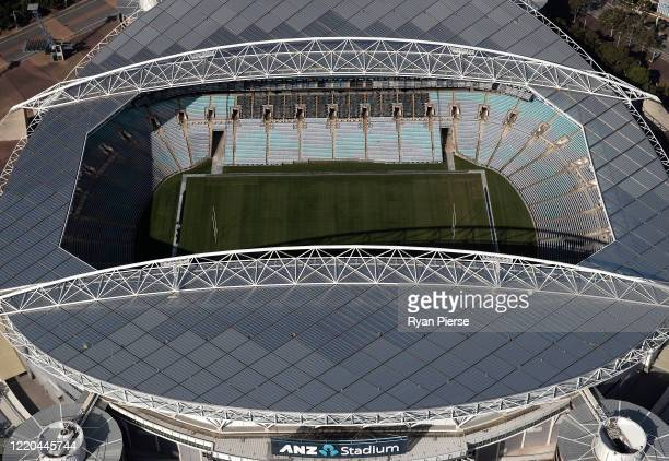 An aerial view of ANZ Stadium on April 22, 2020 in Sydney, Australia. Restrictions have been placed on all non-essential business and strict social...