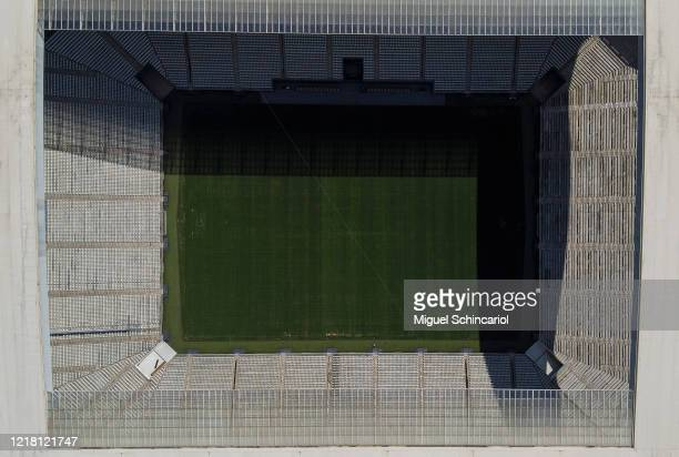 An aerial view of Arena Corinthians stadium during the coronavirus pandemic on April 06, 2020 in Sao Paulo, Brazil.