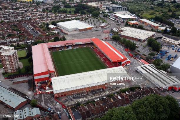 An aerial view of Ashton Gate Bristol City FC's ground in Bristol from a hot air balloon as it flies over following a dawn launch on August 6 2013 in...