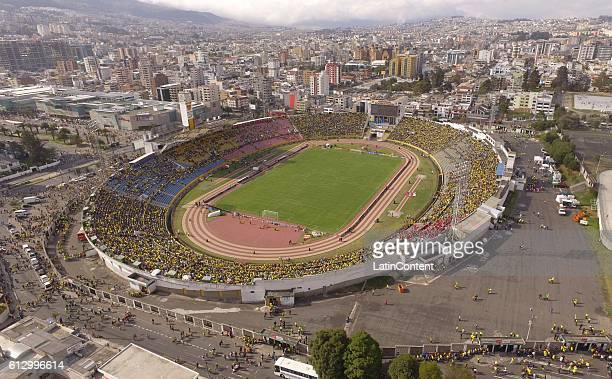 An aerial view of Atahualpa stadium is seen before a match between Ecuador and Chile as part of FIFA 2018 World Cup Qualifiers at Olimpico Atahualpa...