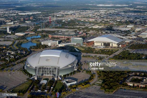 An aerial view of AT&T Stadium, Globe Life Field and Globe Life Park before Game 2 of the 2020 World Series between the Los Angeles Dodgers and the...