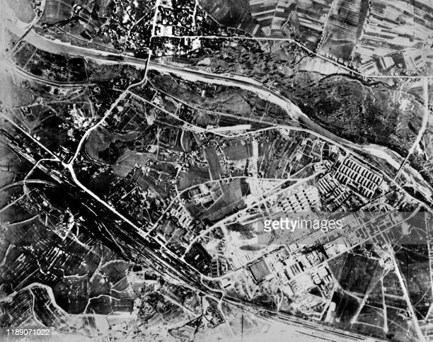 An aerial view of Auschwitz extermination camp taken by US mission on April 4 1944 Auschwitz Third Reich's biggest concentration camp was liberated...