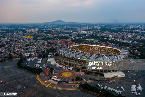 An aerial view of Azteca stadium before a second leg match between Cruz Azul and Arcahaie FC as part of Round of Sixteen of Concacaf Champions League...