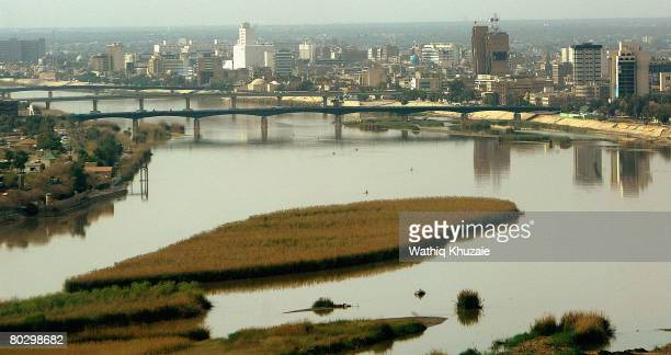 An aerial view of Baghdad on March 18 2008 in Iraq