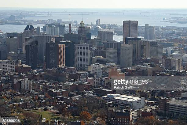 An aerial view of Baltimore City skyline on December 1 2016 in Baltimore Maryland
