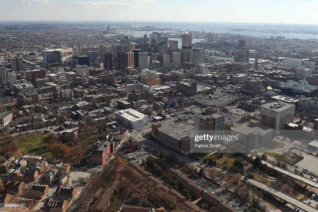 An aerial view of Baltimore City skyline on December 1, 2016 in Baltimore, Maryland.