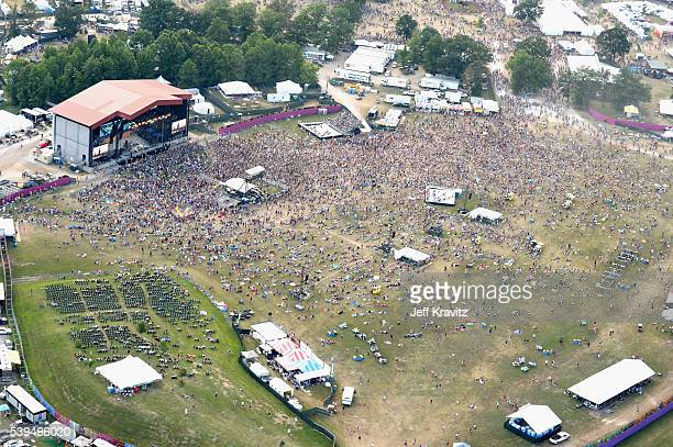 An aerial view of Band of Horses perform onstage at What Stage during Day 3 of the 2016 Bonnaroo Arts And Music Festival on June 9 2016 in Manchester...