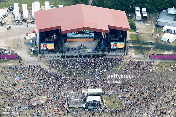 An aerial view of Band of Horses performing onstage at What Stage during Day 3 of the 2016 Bonnaroo Arts And Music Festival on June 9 2016 in...