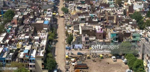 An aerial view of Bapu Dham Colony one of the coronavirus containment zones during lockdown at Sector 26 on MaY 1 2020 in Chandigarh India