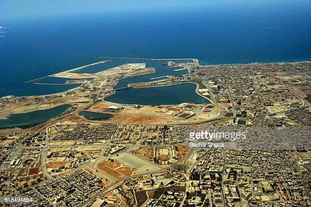 an aerial view of benghazi city - benghazi stock pictures, royalty-free photos & images