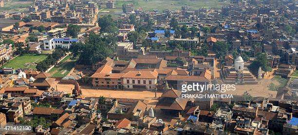 An aerial view of Bhaktapur Durbar Square is seen some 12 kilometers southeast of Kathmandu on June 16 2009 The ancient city of Bhaktapur famous for...