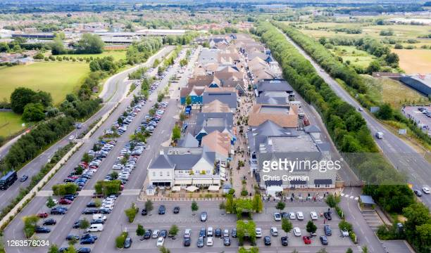 An aerial view of Bicester Village in June 202020 in Oxfordshire