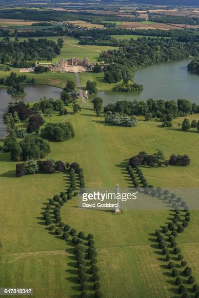 An aerial view of Blenheim Palace, birthplace of Sir Winston Churchill on July 7 2009. The English Baroque style Palace is located among 2000 acres...