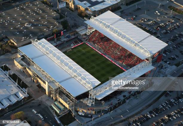 An aerial view of BMO Field home of the Toronto FC soccer club of Major League Soccer on May 3 2017 in Toronto Ontario Canada