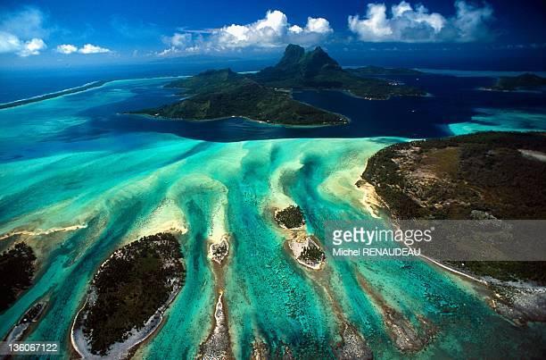 An aerial View of Bora Bora French Polynesia