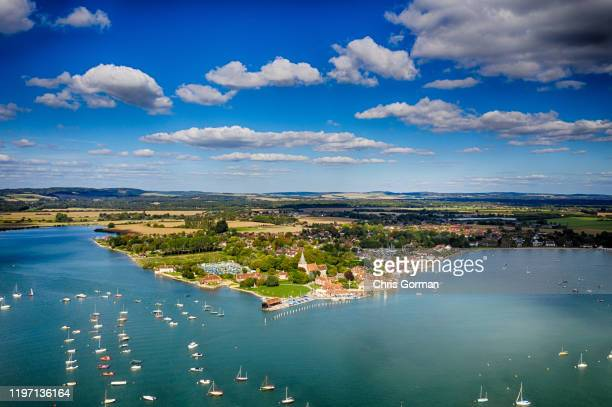 An aerial view of Bosham Harbour in West Sussex on September 13, 2018 in Bosham, United Kingdom.