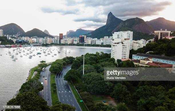 An aerial view of Botafogo bay an the Christ the Redeemer on March 26 2020 in Rio de Janeiro Brazil According to the Ministry of health as today...