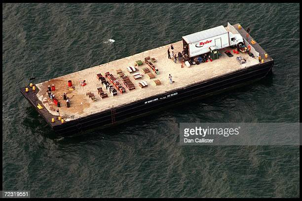 An aerial view of Brad Pitt and Jennifer Aniston's firework barge anchored off their wedding venue July 29 2000 in Malibu CA