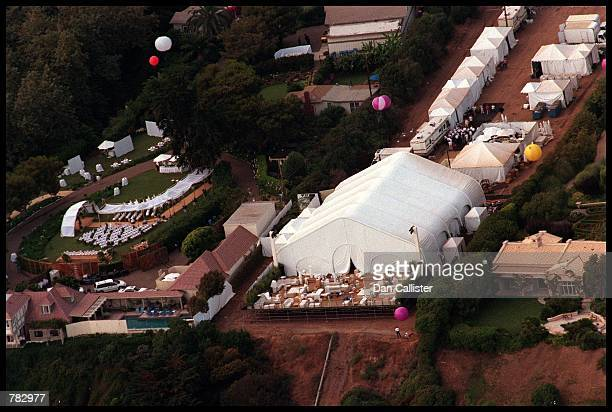 An aerial view of Brad Pitt and Jennifer Aniston's wedding venue July 29 2000 in Malibu CA