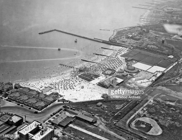 An aerial view of Brighton Beach in Brooklyn on a crowded Fourth of July New York New York July 4 1925