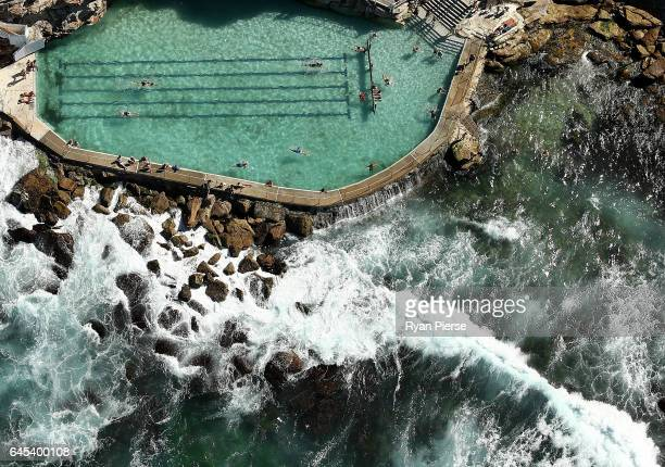 An aerial view of Bronte Ocean Pool on February 23 2017 in Sydney Australia