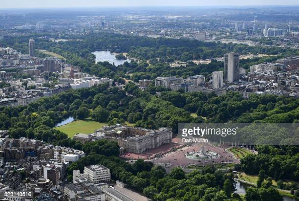 An aerial view of Buckingham Palace on July 12 2017 in London England