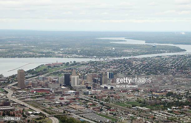 An aerial view of Buffalo New York facing Lake Erie and Fort Erie, Canada as photographed on September 29, 2012 in Buffalo, New York.