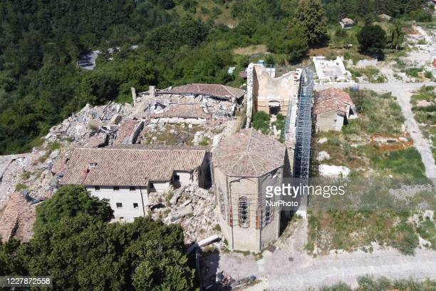 An aerial view of buildings which collapsed with the powerful earthquake in the municipality of Amatrice, Italy, on July 31 2020. Central Italy has...