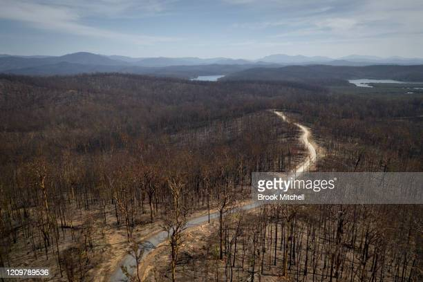 An aerial view of bushfire damaged country near Batemans Bay on March 01, 2020 in Batemans Bay, Australia. 25 people were killed in New South Wales...