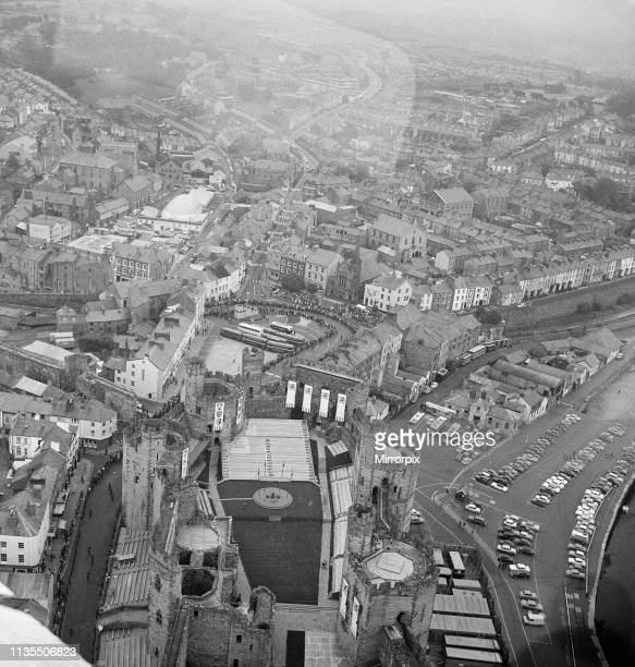 An aerial view of Caernarfon Castle the day before the Investiture of Prince Charles, Caernarfon, Gwynedd, Wales, 30th June 1969.