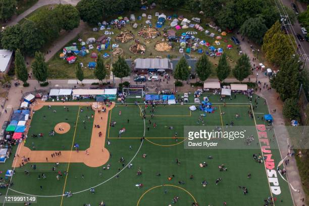 An aerial view of Cal Anderson Park is seen during ongoing Black Lives Matter events in the socalled CHOP an area that protesters have called both...