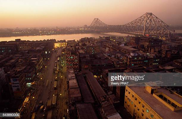 An aerial view of Calcutta and Howrah Bridge
