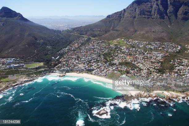 An aerial view of Camps Bay on September 16which is an affluent suburb of Cape Town South Africa In summer it attracts a large number of foreign...