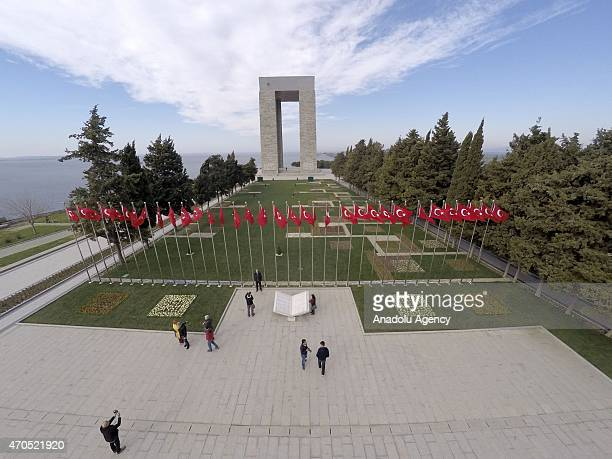 An aerial view of Canakkale Martyrs' Memorial is seen on the Gallipoli Peninsula ahead of 100th anniversary of the Canakkale Land Battles in...