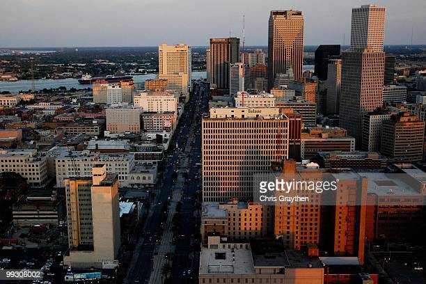 An aerial view of Canal Street in downtown New Orleans, Louisiana on April 10, 2010.